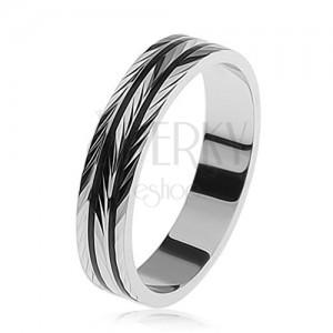 Strieborný prsteň, gravírovaný